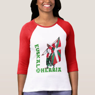 Euskal Herria: Girl carrying Basque flag Ikurrina, T-Shirt