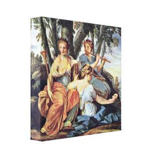 Eustache Le Sueur - Euterpe y Thalia de las musas Impresión En Lona Estirada