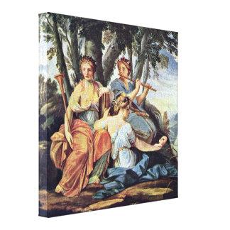 Eustache Le Sueur - Euterpe y Thalia de las musas Lona Envuelta Para Galerias