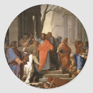 Eustache Le Sueur-Preaching of St. Paul at Ephesus Classic Round Sticker