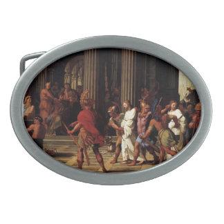 Eustache Sueur- Saints Brought before Anastasius Oval Belt Buckle
