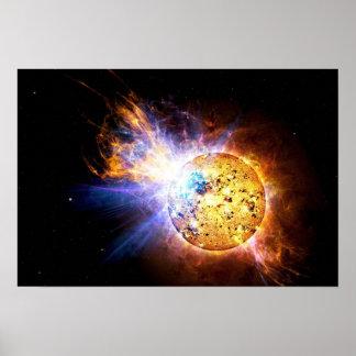 EV Lacertae Star Solar Flare Explosion Poster