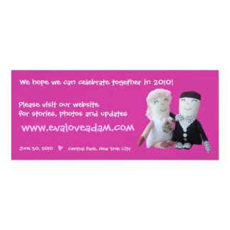 "Eva & Adam Insert Photo Doll Wedding Invitation 2 4"" X 9.25"" Invitation Card"