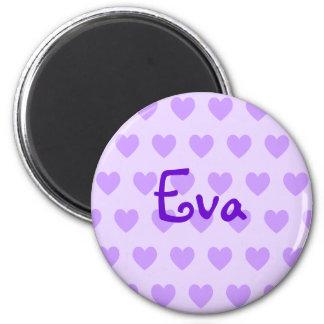 Eva in Purple Fridge Magnets
