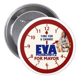 Eva Moskowitz para el alcalde 2013 de NYC Pin Redondo De 3 Pulgadas