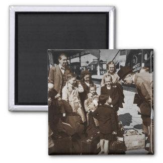 Evacuee Children at Train Station Magnets