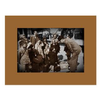 Evacuee Children at Train Station Postcard