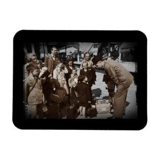 Evacuee Children at Train Station Magnet