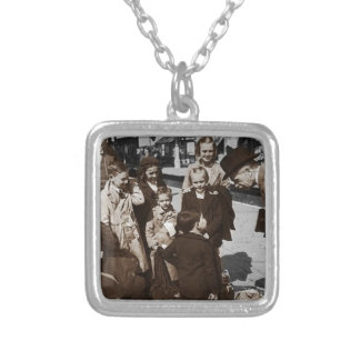 Evacuee Children at Train Station Silver Plated Necklace
