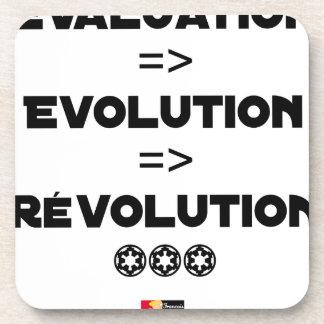 EVALUATION, EVOLUTION, REVOLUTION Word games Drink Coaster