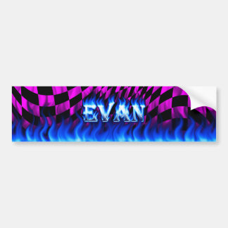 Evan blue fire and flames bumper sticker design.