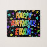 "[ Thumbnail: ""Evan"" First Name, Fun ""Happy Birthday"" Jigsaw Puzzle ]"