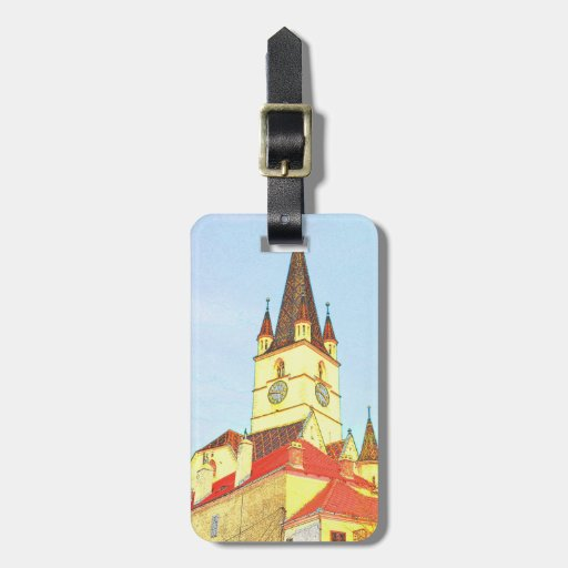 Evangelic church tower drawing luggage tag
