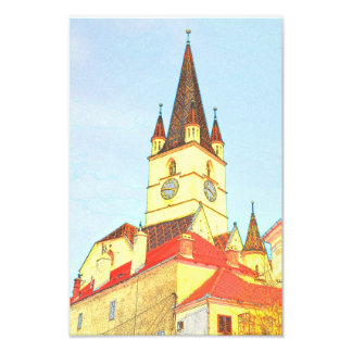 Evangelic church tower drawing photographic print