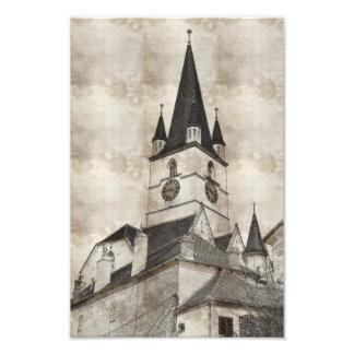 Evangelic church tower drawing photo art