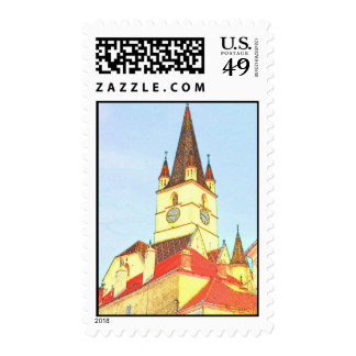 Evangelic church tower drawing stamp