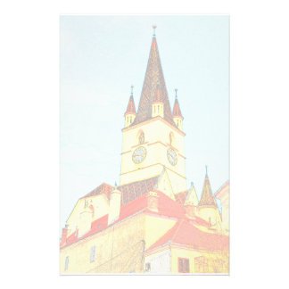 Evangelic church tower drawing custom stationery