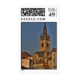 Evangelic church tower postage stamps