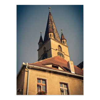 "Evangelic church tower, Sibiu 6.5"" X 8.75"" Invitation Card"