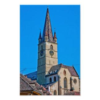 Evangelic church tower, Sibiu Photographic Print
