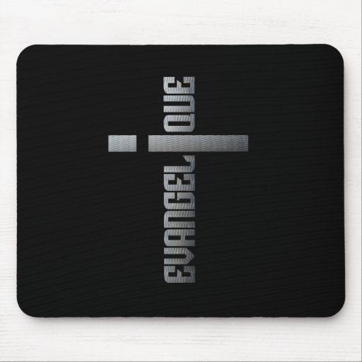 Evangelic metal on black square bottom mouse pad
