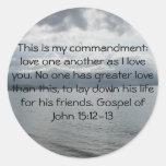 Evangelio del 15:12 de Juan - 13 Etiquetas Redondas