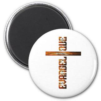 Evangélique en croix aspect braise 2 inch round magnet