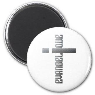 Evangélique en croix aspect métal 2 inch round magnet