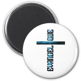 Evangélique en croix bleu 2 inch round magnet