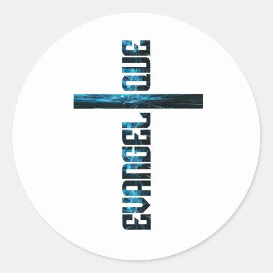 Evangélique en croix bleu classic round sticker