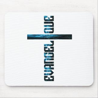 Evangélique en croix bleu mouse pad