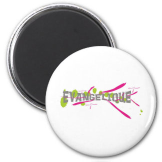 Evangélique Gris sur taches vertes traits roses 2 Inch Round Magnet