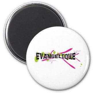 Evangélique Noir sur taches vertes traits roses 2 Inch Round Magnet