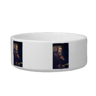 Evangelist Mathew and the Angel by Rembrandt Cat Water Bowls