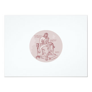Evangelist Writing Scroll Etching 6.5x8.75 Paper Invitation Card