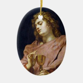 Evangelista Peter Paul Rubens de St. John Adorno Navideño Ovalado De Cerámica