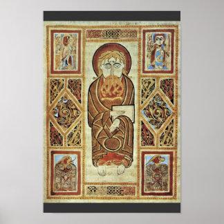 Evangelista y símbolos de Irischer Meister (el mej Impresiones