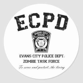 Evans City Police Department Zombie Task Force Classic Round Sticker
