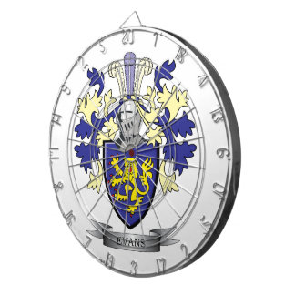 Evans Family Crest Coat of Arms Dartboard With Darts