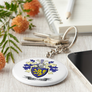 Evans Family Crest Coat of Arms Keychain