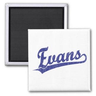 Evans script logo in blue 2 inch square magnet