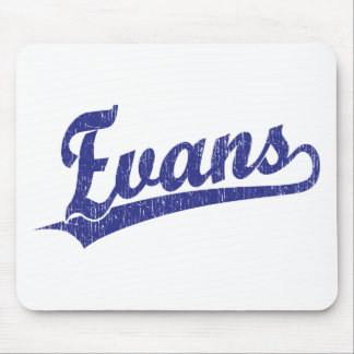 Evans script logo in blue mouse pad