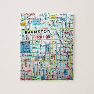 EVANSTON, IL Vintage Map Jigsaw Puzzle