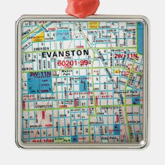 EVANSTON, IL Vintage Map Ornament
