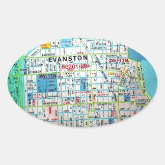 EVANSTON, IL Vintage Map Oval Sticker