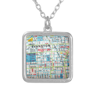 EVANSTON, IL Vintage Map Silver Plated Necklace