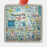 EVANSTON, mapa del vintage de IL Ornamentos Para Reyes Magos