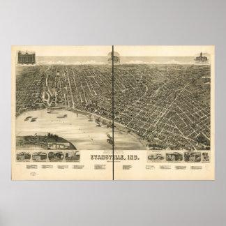 Evansville 1888, EN mapa panorámico de la opinión  Póster