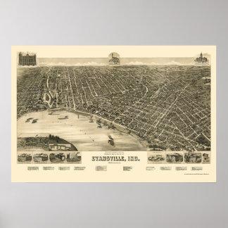 Evansville, EN el mapa panorámico - 1888 Póster