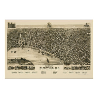 Evansville, IN Panoramic Map - 1888 Poster